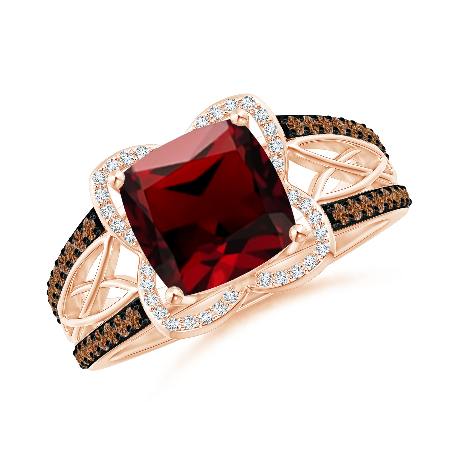 Cushion Garnet Celtic Knot Cocktail Ring - Angara.com