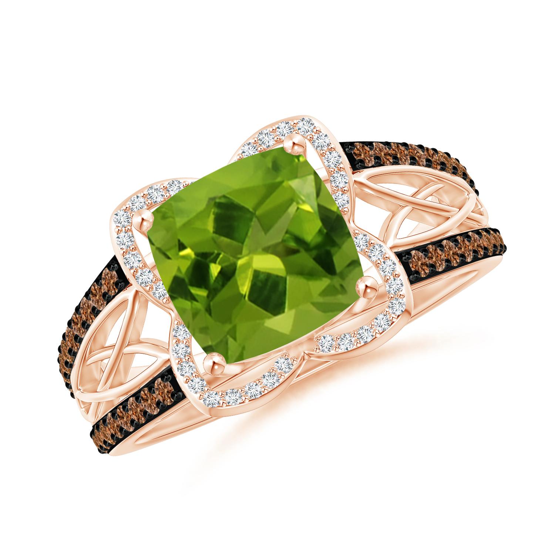Cushion Peridot Celtic Knot Cocktail Ring - Angara.com