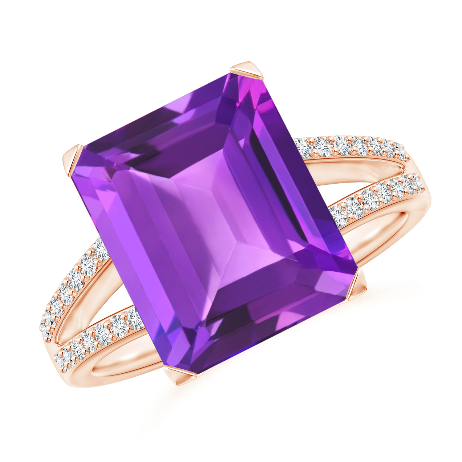 Emerald Cut Amethyst Cocktail Ring with Diamond Accents - Angara.com