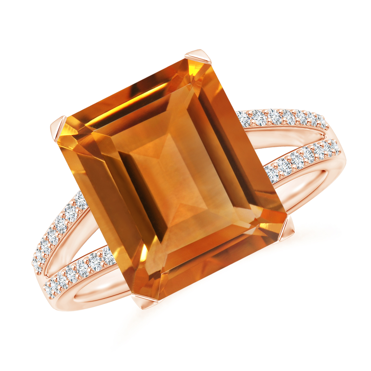 Emerald Cut Citrine Cocktail Ring with Diamond Accents - Angara.com