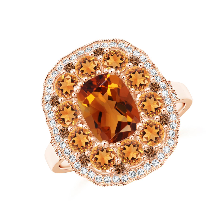 Cushion Citrine Cocktail Ring with Milgrain Detailing - Angara.com