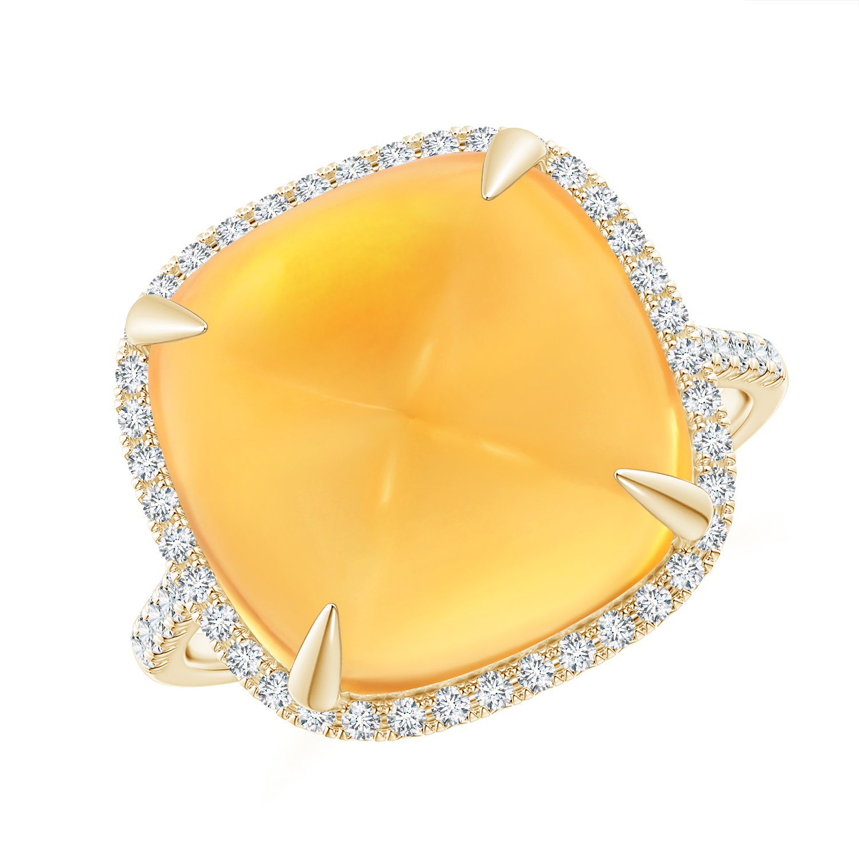 Sugarloaf Cabochon Citrine Ring with Diamond Halo - Angara.com