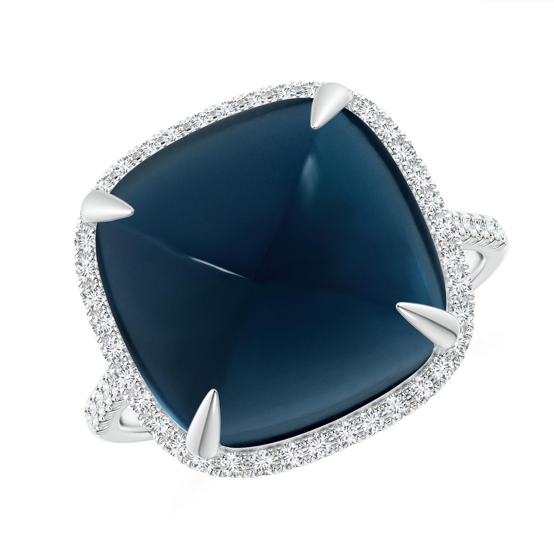 Sugarloaf Cabochon London Blue Topaz Ring with Diamond Halo - Angara.com