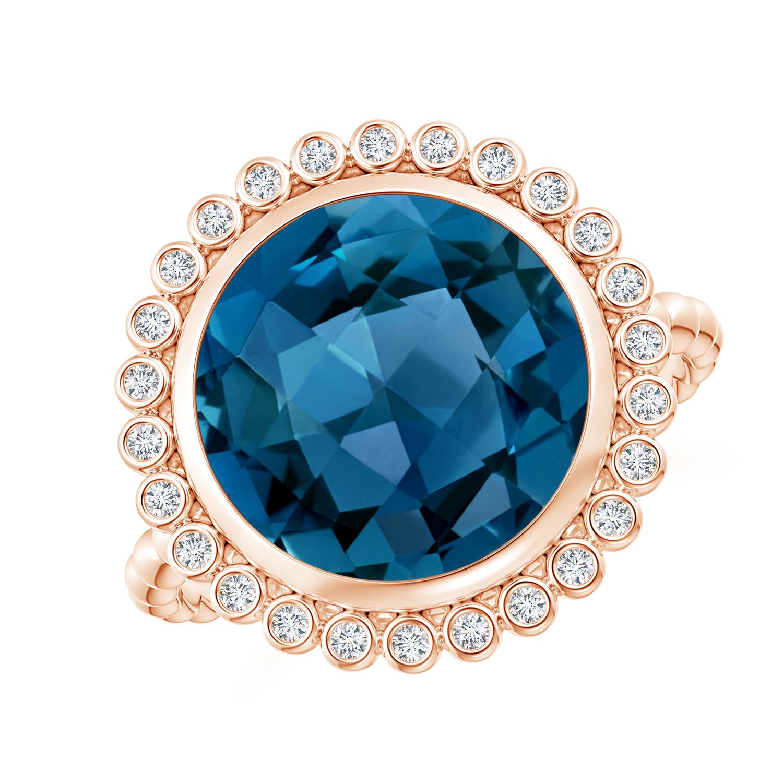 Bezel Set Round London Blue Topaz Ring with Beaded Shank - Angara.com