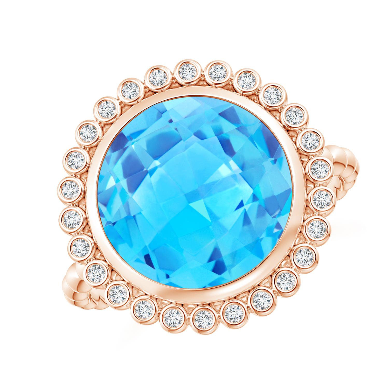 Bezel Set Round Swiss Blue Topaz Ring with Beaded Shank - Angara.com