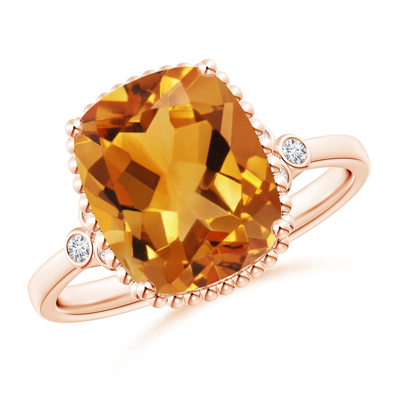 Cushion Citrine Beaded Halo Ring with Diamond Accents - Angara.com
