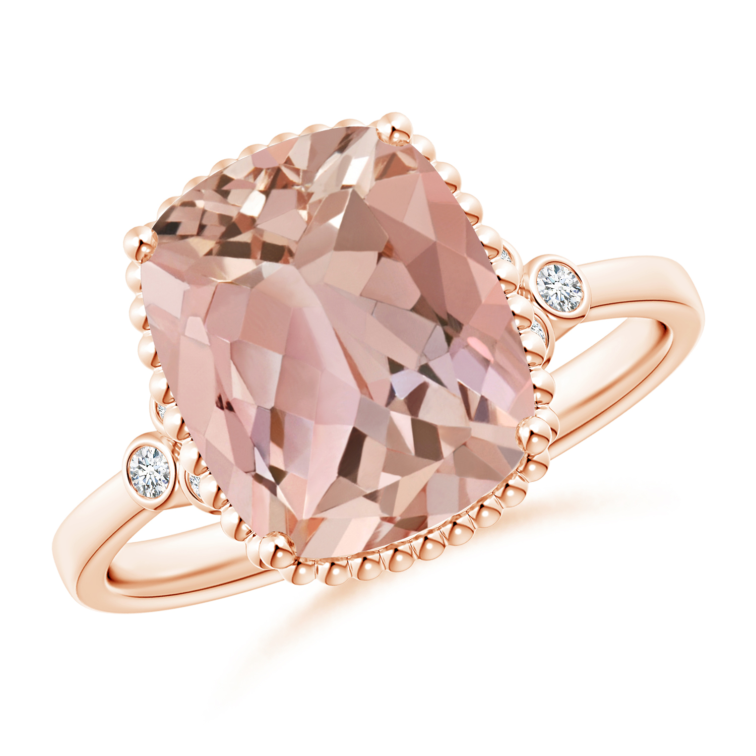 Cushion Morganite Beaded Halo Ring with Diamond Accents - Angara.com