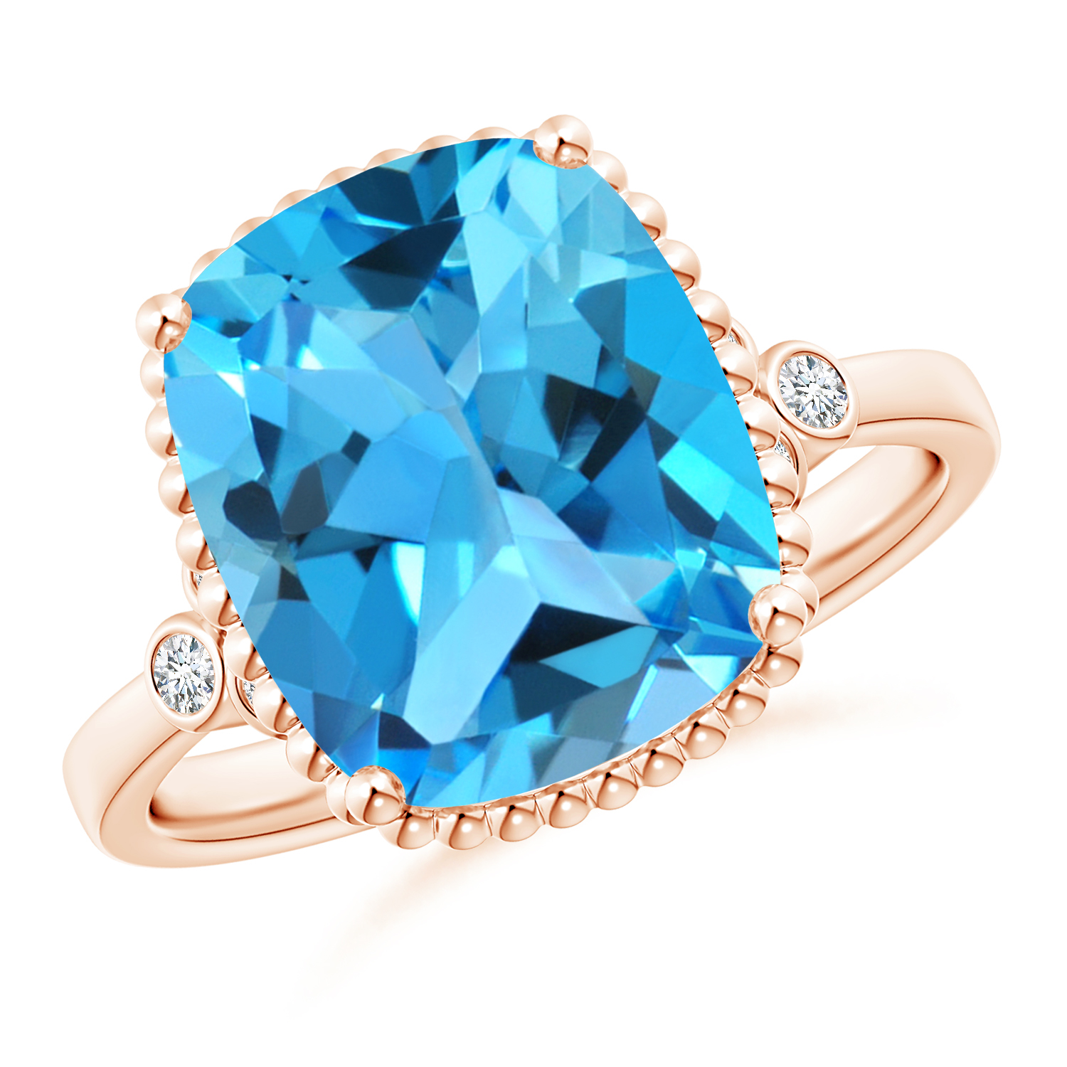Cushion Swiss Blue Topaz Beaded Halo Ring with Diamonds - Angara.com