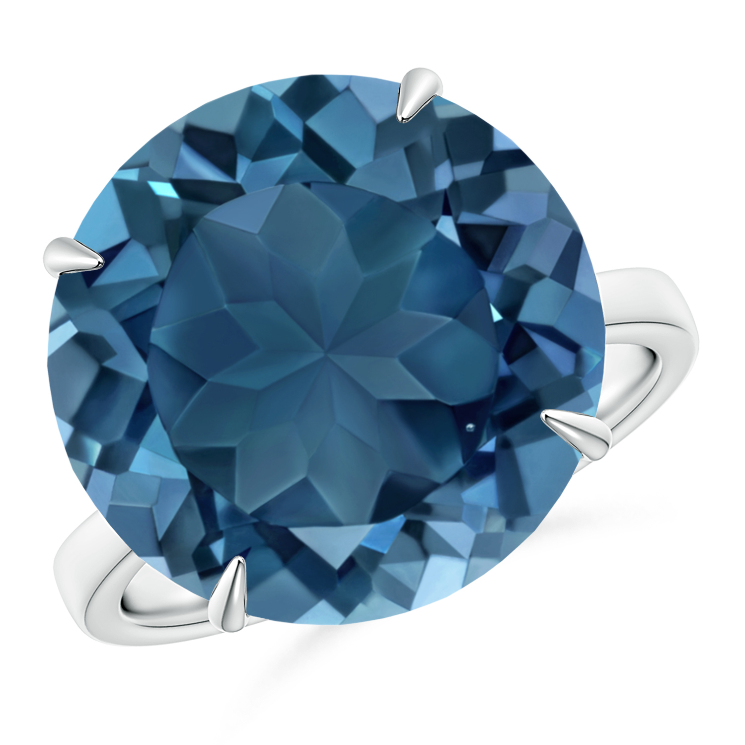 Prong Set Round London Blue Topaz Cocktail Ring - Angara.com