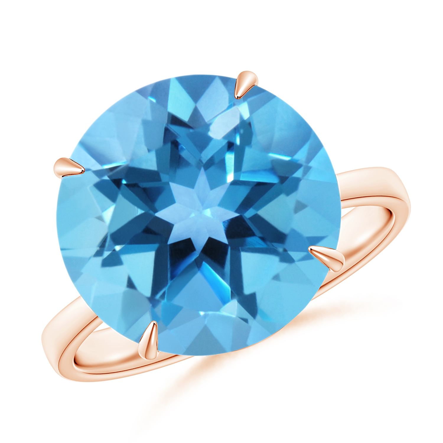Prong Set Round Swiss Blue Topaz Cocktail Ring - Angara.com