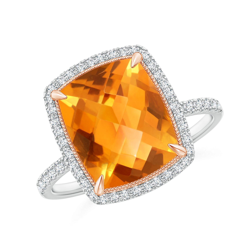 Cushion Citrine and Diamond Halo Ring in Two Tone - Angara.com