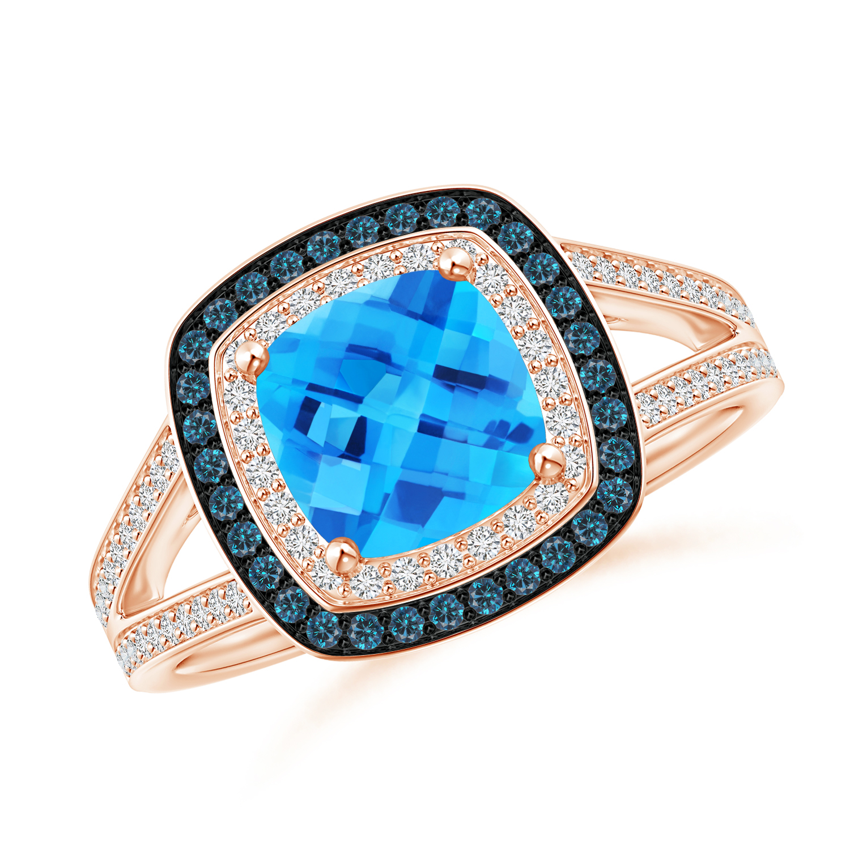 Cushion Swiss Blue Topaz Split Shank Ring with Double Halo - Angara.com