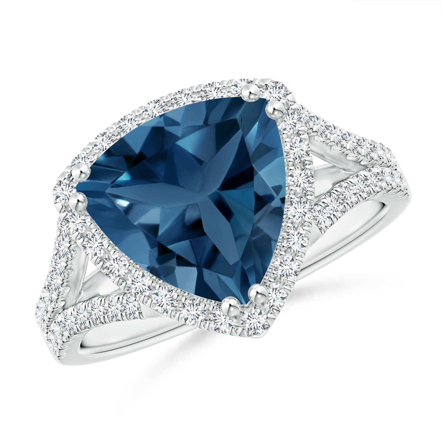 Trillion London Blue Topaz Cocktail Ring with Diamond Accents - Angara.com