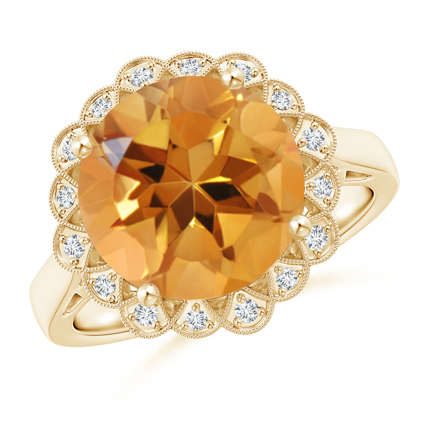 Vintage Inspired Citrine Floral Halo Ring with Milgrain - Angara.com