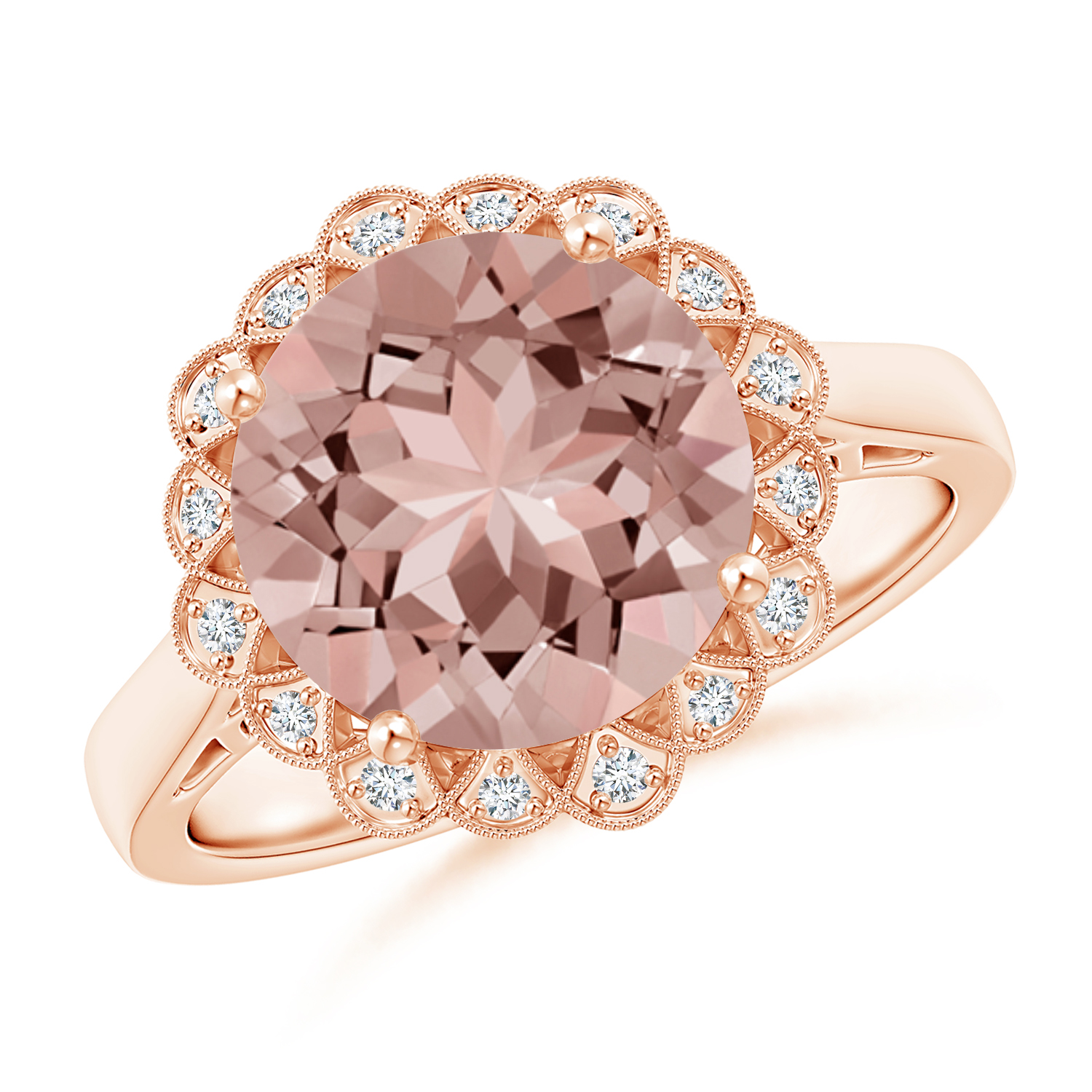Vintage Style Morganite Cocktail Ring with Diamond Halo - Angara.com