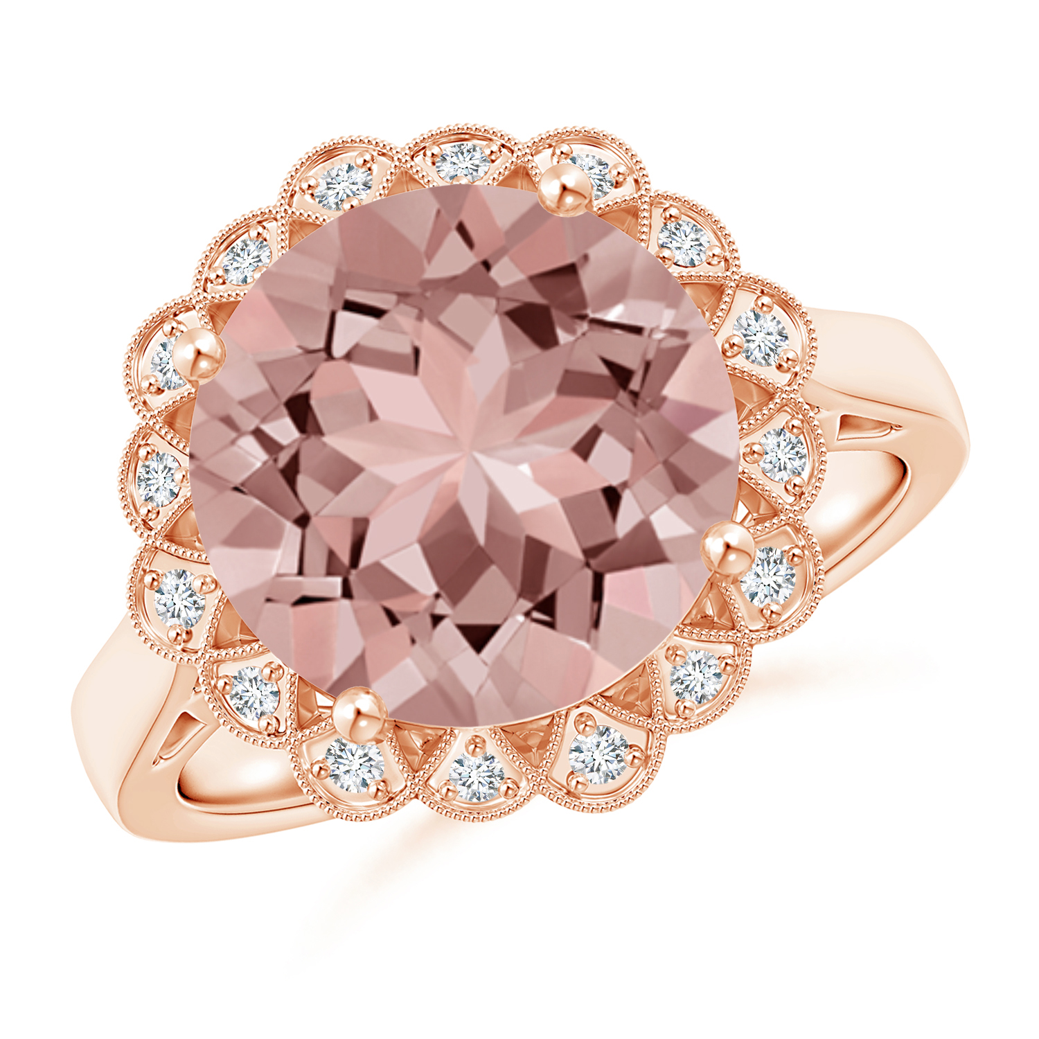 Vintage Style Morganite Cocktail Ring with Floral Halo - Angara.com