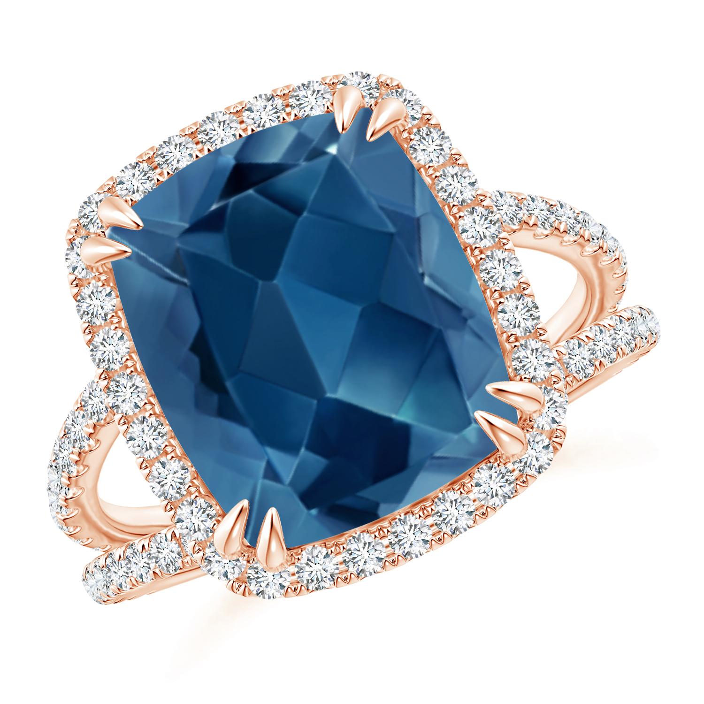 Vintage London Blue Topaz Split Shank Ring with Diamond Halo - Angara.com