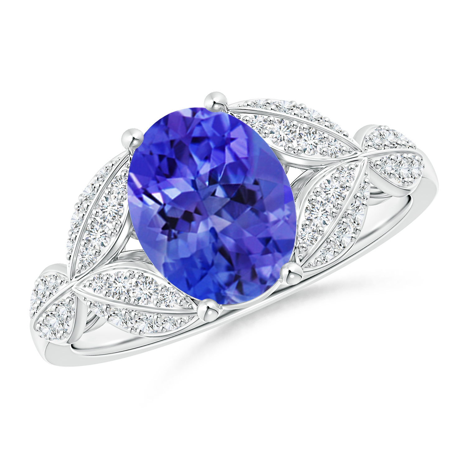 Tanzanite and Diamond Trillium Petal Flower Ring - Angara.com