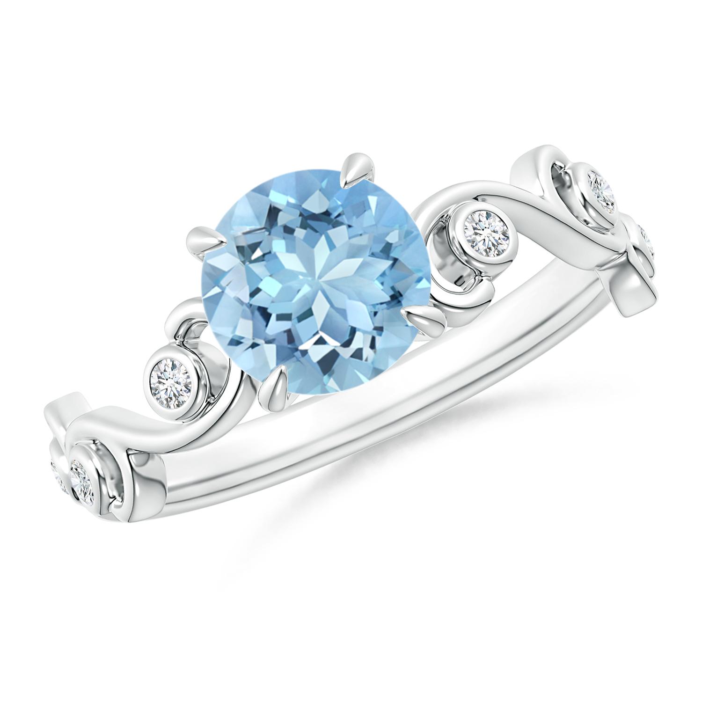 Aquamarine and Diamond Ivy Scroll Ring - Angara.com