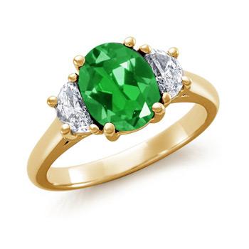 Lab Created Oval Emerald and Diamond Three Stone Ring - Angara.com