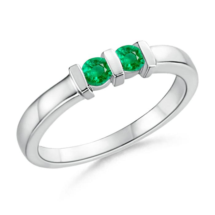 Round 2 Stone Emerald Ring with Bar Setting - Angara.com