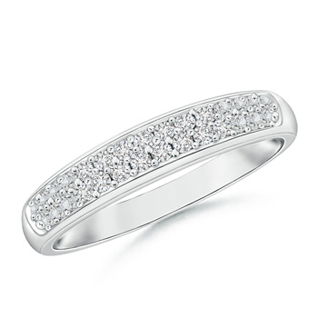 Half Eternity Pave Set Two Row Diamond Wedding Band - Angara.com