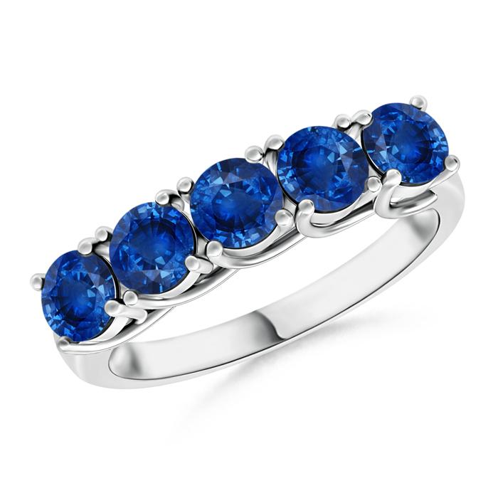 Half Eternity Five Stone Blue Sapphire Wedding Band - Angara.com