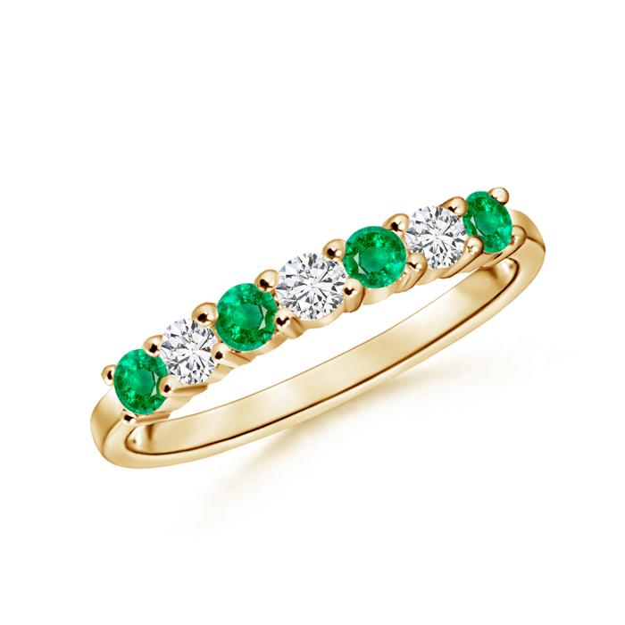 Half Eternity Seven Stone Emerald and Diamond Wedding Band - Angara.com