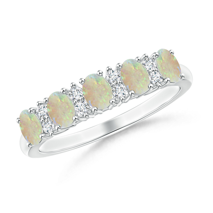 Five Stone Opal and Diamond Wedding Band - Angara.com