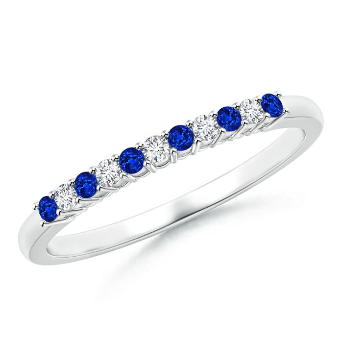 Blue Sapphire and Diamond Half Eternity Wedding Band - Angara.com