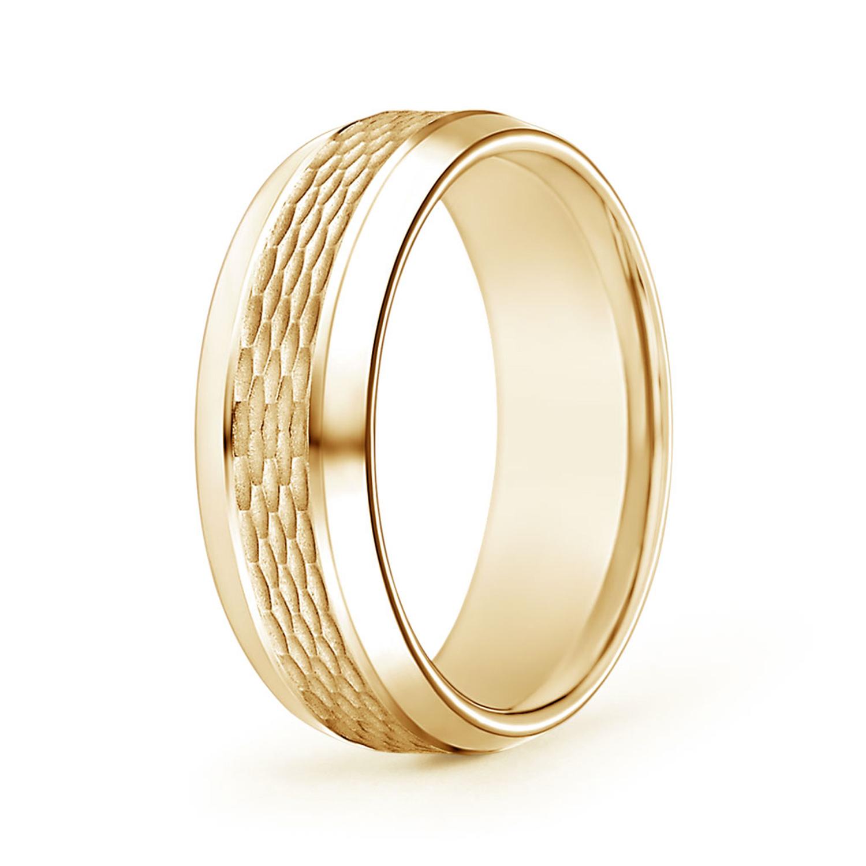 Beveled Edges Comfort Fit Textured Wedding Band for Him - Angara.com
