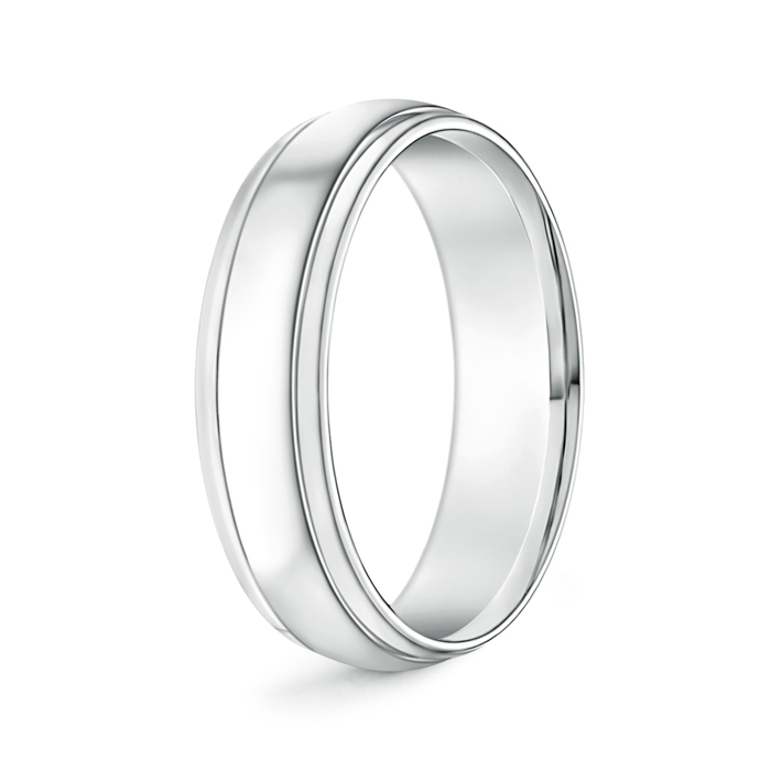 High Polished Parallel Grooved Wedding Band for Him - Angara.com