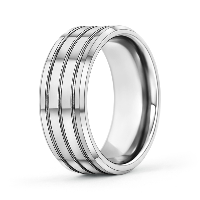 9mm Multiple Grooves Tungsten Carbide Wedding Band - Angara.com