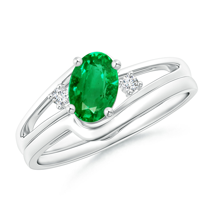 Split Shank Emerald Engagement Ring with Wedding Band - Angara.com