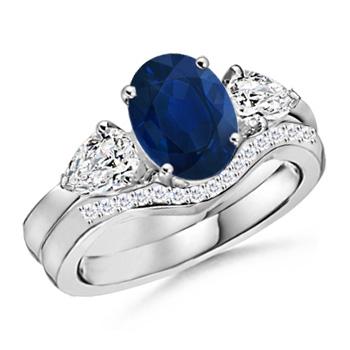 Three Stone Sapphire and Diamond Wedding Band Ring Set - Angara.com