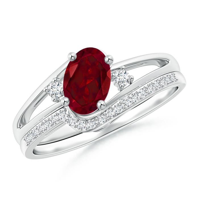 Oval Garnet and Diamond Wedding Band Ring Set - Angara.com